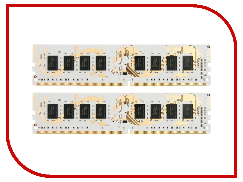Модули памяти GWB48GB2400C16DC  Модуль памяти GeIL Dragon DDR4 DIMM 2400MHz PC4-19200 CL16 - 8Gb KIT (2x4Gb) GWB48GB2400C16DC