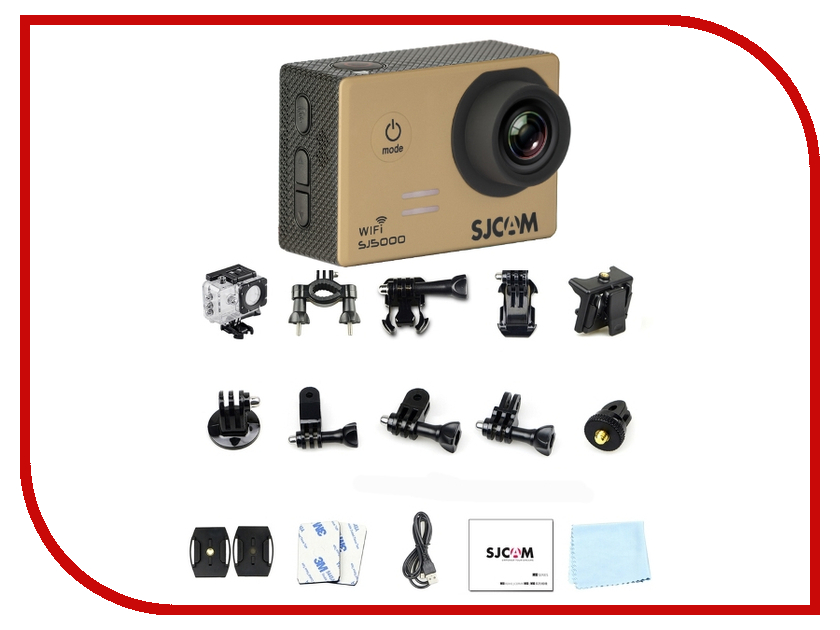 Экшн-камера SJCAM SJ5000 WiFi Gold 2 0 4k sjcam sj5000 series sj5000x elite wifi ntk96660 mini gyro 30 waterproof sports action camera sj cam dvr many accessories