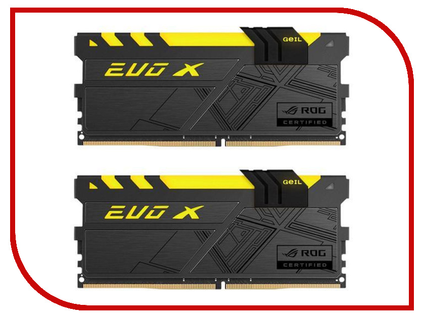 Модуль памяти GeIL EVO X ROG DDR4 DIMM 3000MHz PC4-24000 CL15 - 16Gb KIT (2x8Gb) GREXR416GB3000C15ADC модуль памяти klevv ddr4 dimm 3000mhz pc24000 cl15 16gb km4z16x2a 3000 0
