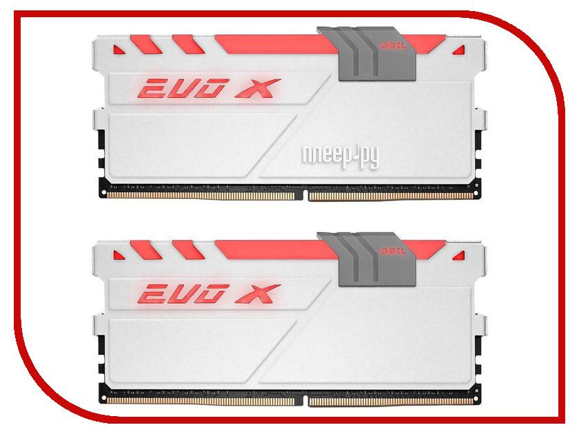 Модуль памяти GeIL EVO X DDR4 DIMM 3200MHz PC4-25600 CL16 - 16Gb KIT (2x8Gb) GEXG416GB3200C16ADC память geil evo potenza 2x4gb ddr3 2133 gpb38gb2133c10adc