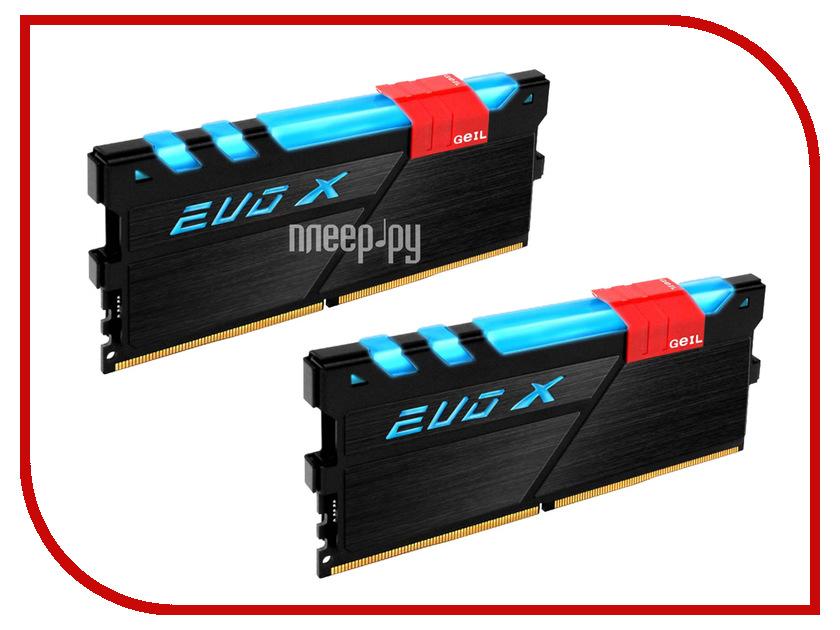 все цены на Модуль памяти GeIL EVO X DDR4 DIMM 3200MHz PC4-25600 CL16 - 16Gb KIT (2x8Gb) GEXB416GB3200C16ADC онлайн