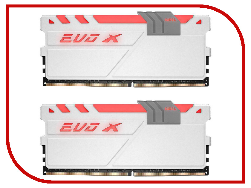 Модуль памяти GeIL EVO X DDR4 DIMM 3200MHz PC4-25600 CL16 - 16Gb KIT (2x8Gb) GAEXW416GB3000C16ADC память geil evo potenza 2x4gb ddr3 2133 gpb38gb2133c10adc