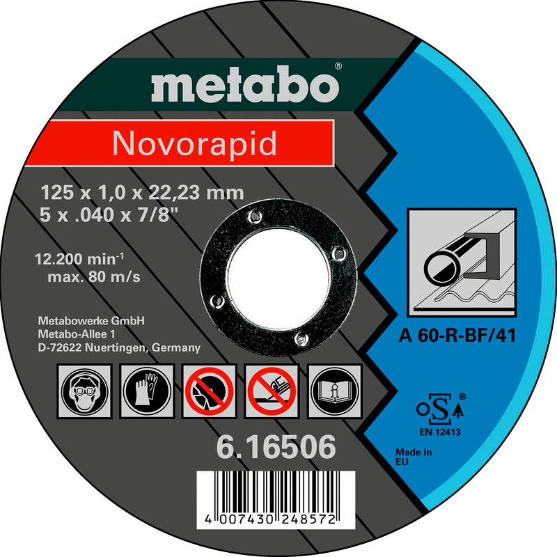 Фото - Диск Metabo Novorapid 125x1.0 Отрезной для стали 616506000 диск отрезной 125x1 6x22 23 3m