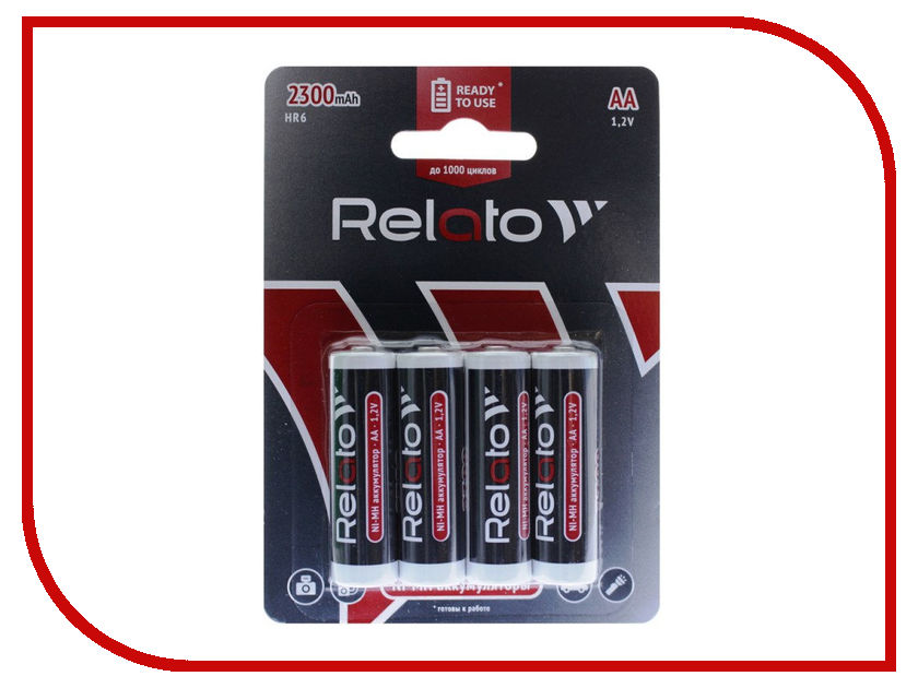 Аккумулятор AA - Relato Ready-to-Use HR6 AA2300 R2U Ni-MH 2300 mAh (4 штуки)