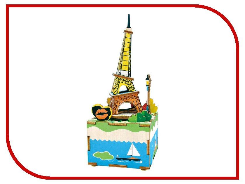 конструкторы robotime часы конструктор деревянные ослик раскраска Конструктор Robotime Музыкальная шкатулка 3D Romantic Eiffel 41 дет. AM308
