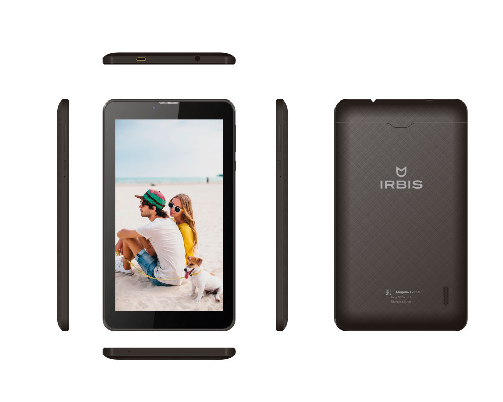 Планшет Irbis TZ716 Black (SC7731C 1.2 GHz/1024Mb/8Gb/GPS/3G/Wi-Fi/Bluetooth/Cam/7.0/1024x600/Android) планшет