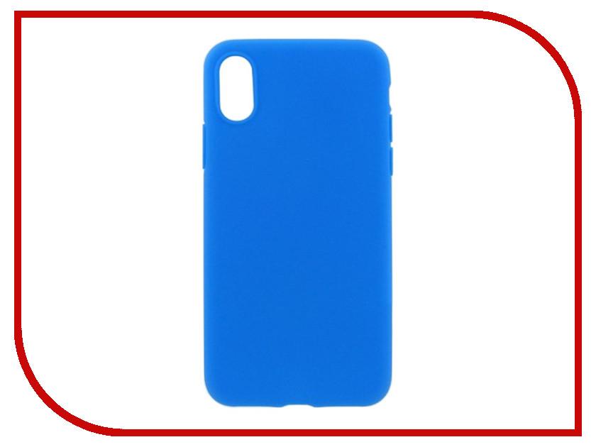 Аксессуар Накладка силиконовая Krutoff для Apple iPhone X Light Blue 11935 аксессуар защитное стекло krutoff front