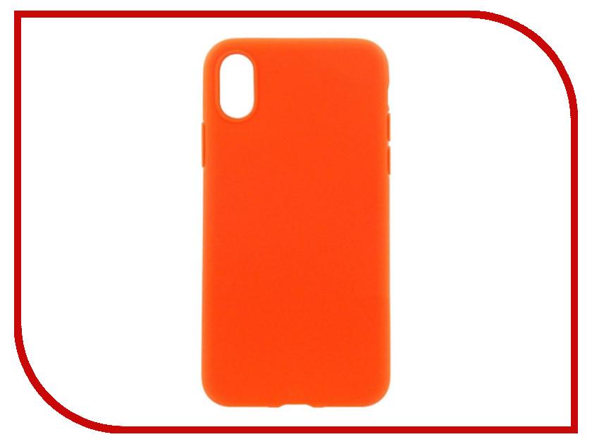 Аксессуар Накладка силиконовая Krutoff для Apple iPhone X Orange 11933 аксессуар защитное стекло krutoff front