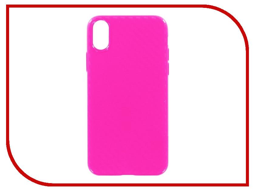 Аксессуар Накладка силиконовая Krutoff для Apple iPhone X Pink 11930 аксессуар защитное стекло krutoff front