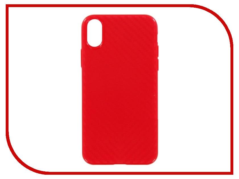Аксессуар Накладка силиконовая Krutoff для Apple iPhone X Red Karbon 11916 аксессуар krutoff lightning u2 120i strong 1 2m red 14730