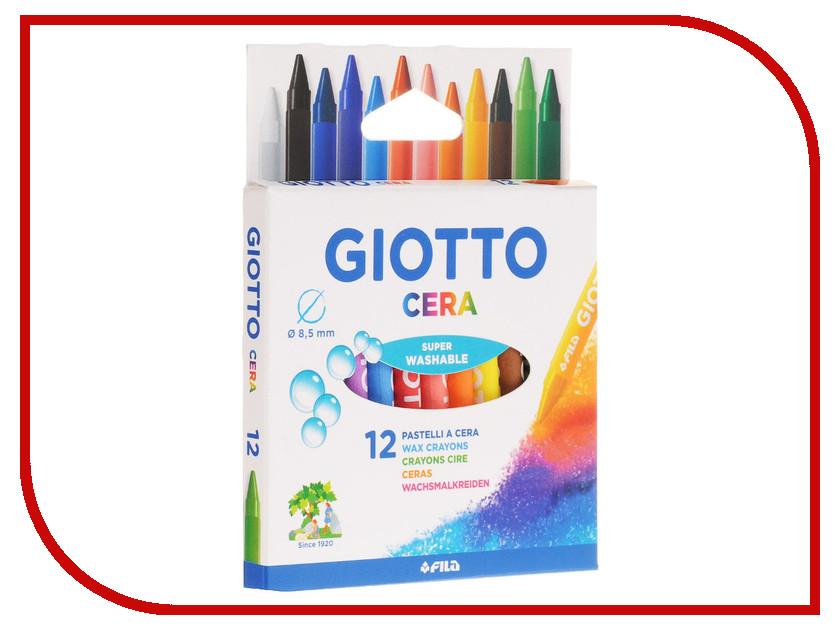 Восковые карандаши Giotto Cera 12шт 281200 карандаши восковые мелки пастель giotto stilnovo cancellab temp gom 10 цветных с индивидуальным ластиком