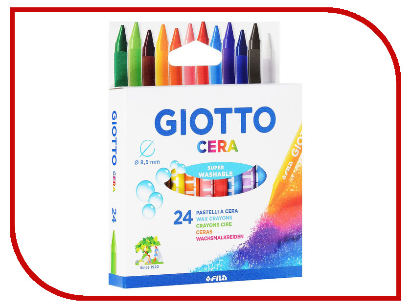 Восковые карандаши Giotto Cera Ast 24шт 282200 карандаши восковые мелки пастель giotto stilnovo cancellab temp gom 10 цветных с индивидуальным ластиком