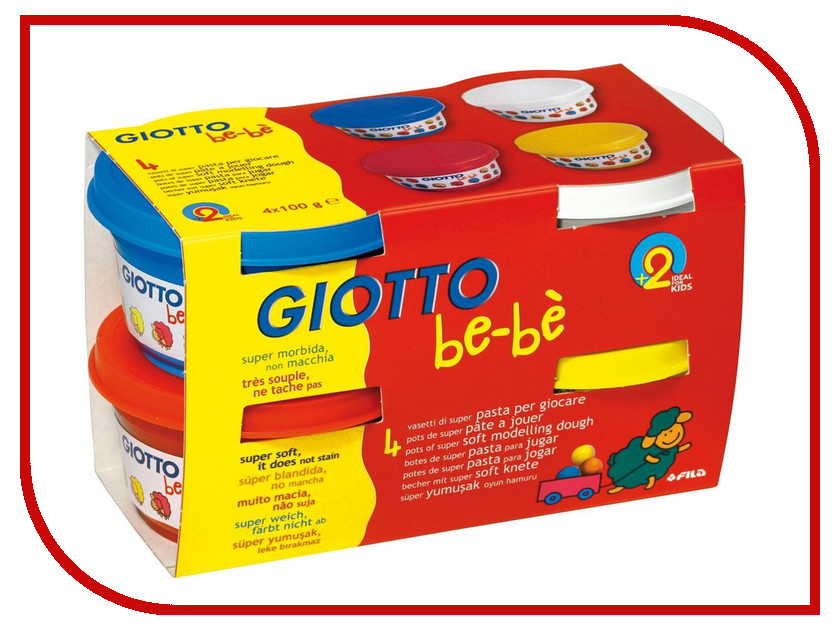 Набор для лепки Giotto Be-Be Super Modelling Dough Паста для моделирования 4 цвета 464901 фломастеры 12 цв giotto be be с раскраской