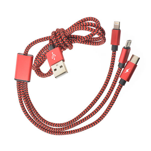 Аксессуар Robiton P12 Multicord Micro-USB Type-C + Lightning 8pin 1m Red 15191