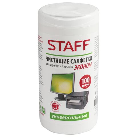Staff Чистящие салфетки для экранов и пластика 100шт влажные 511518