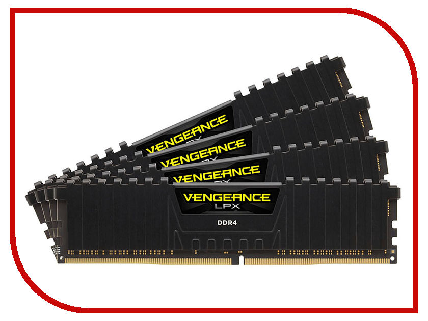 Модуль памяти Corsair Vengeance LPX DDR4 DIMM 3000MHz PC4-24000 CL16 - 32Gb KIT (4x8Gb) CMK32GX4M4C3000C16 модуль памяти corsair vengeance lpx cmk32gx4m4b3733c17r ddr4 4x 8гб 3733 dimm ret