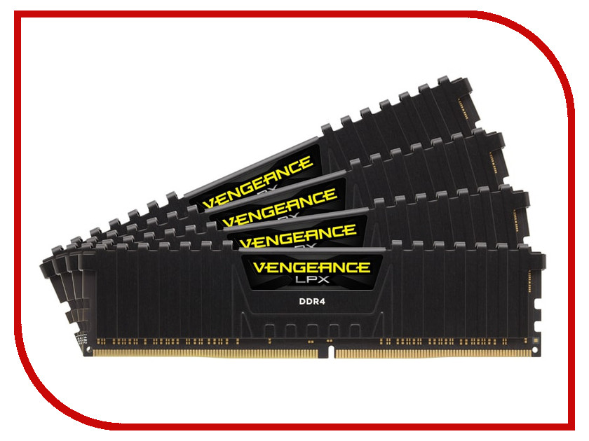 Модуль памяти Corsair Vengeance LPX DDR4 DIMM 3200MHz PC4-25600 CL16 - 32Gb KIT (4x8Gb) CMK32GX4M4D3200C16 модуль памяти corsair vengeance lpx cmk32gx4m4b3733c17r ddr4 4x 8гб 3733 dimm ret