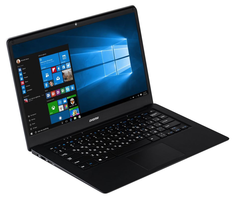 Ноутбук Digma EVE 1401 (Intel Atom x5-Z8350 1.44 GHz/2048Mb/32Gb SSD/Intel HD Graphics/Wi-Fi/Bluetooth/Cam/14.1/1366x768/Windows 10 Home 64-bit) планшет irbis tw73 intel atom z3735g 1 33 ghz 2048mb 32gb wi fi cam 10 1 1280x800 windows 10