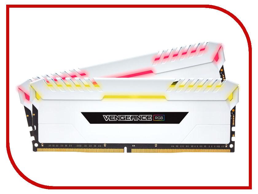 Модуль памяти Corsair Vengeance RGB DDR4 DIMM 3000MHz PC4-24000 CL16 - 16Gb KIT (2x8Gb) CMR16GX4M2C3000C16W модуль памяти corsair vengeance lpx ddr4 dimm 2400mhz pc4 19200 cl16 16gb kit 2x8gb cmk16gx4m2z2400c16