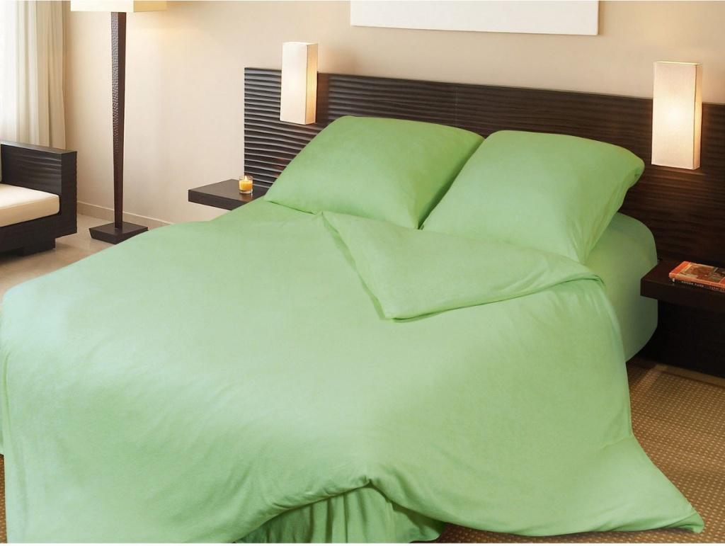 Постельное белье Грация Комплект 1.5 спальный Махра Lime Green 2197241