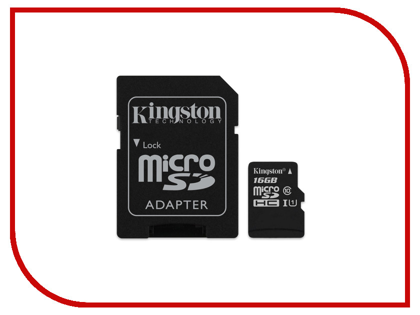 Карта памяти 16Gb - Kingston MicroSDHC Class 10 UHS-I U1 Canvas Select SDCS/16GB с переходником под SD карта памяти micro sdhc 16gb class 10 uhs i qumo qm16gmicsdhc10u1 sd adapter
