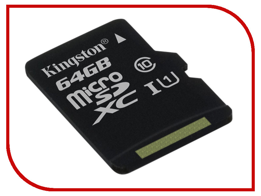 Карта памяти 64Gb - Kingston MicroSDHC Class 10 UHS-I U1 Canvas Select SDCS/64GBSP microsdhc kingston 4gb class 4 sdc4 4gbsp