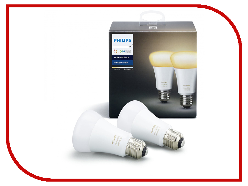 Лампочка Philips Hue White Ambiance E27 (2 шт) светодиодная лента philips hue lightstrips plus 1m