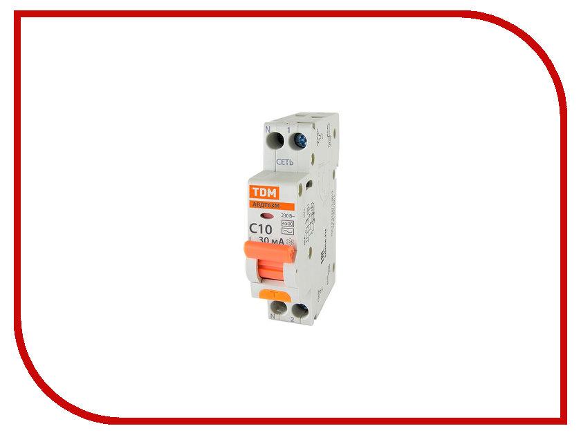 Дифференциальный автомат TDM-Electric АВДТ 63М C10 30mA SQ0202-0059 автомат дифференциальный 1п n 40a 30ma ac 6 ka