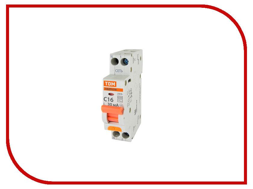 Дифференциальный автомат TDM-Electric АВДТ 63М C16 30mA SQ0202-0060 авдт 64 tdm sq0205 0008 дифавтомат