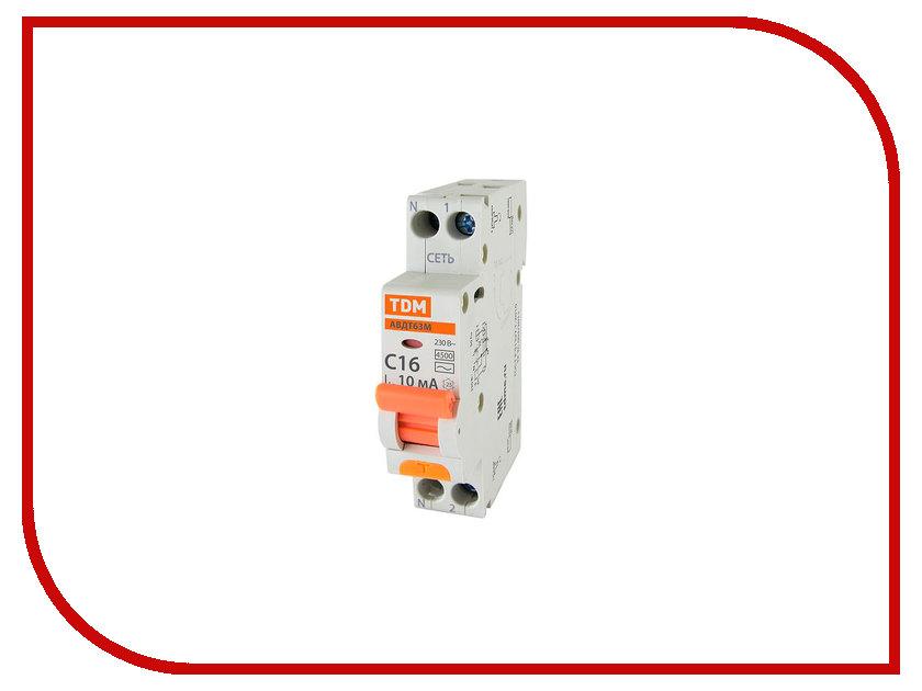 Фото - Дифференциальный автомат TDM-Electric АВДТ 63М C16 10mA SQ0202-0064 дифавтомат авдт 64 c 32а 30 ма tdm sq0205 0008
