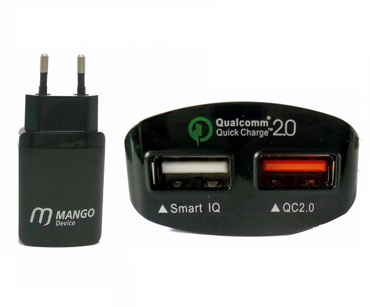 Зарядное устройство Mango Device 2xUSB Ports with Qiuck Charge 2.0 Black MD-WCH-09B