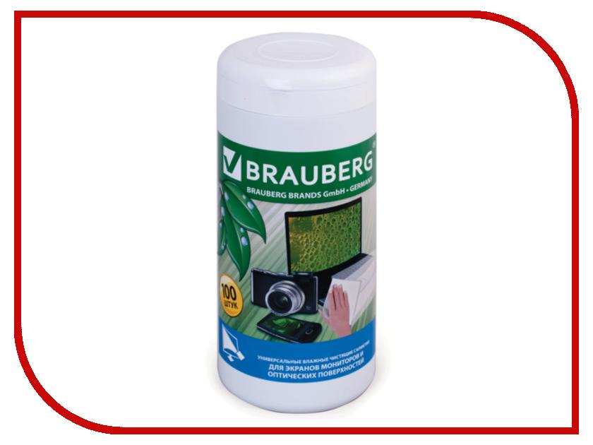 Чистящие салфетки Brauberg 100шт влажные 510122 для монитора салфетки чистящие влажные defender cln30322 универсальные в тубе 100шт