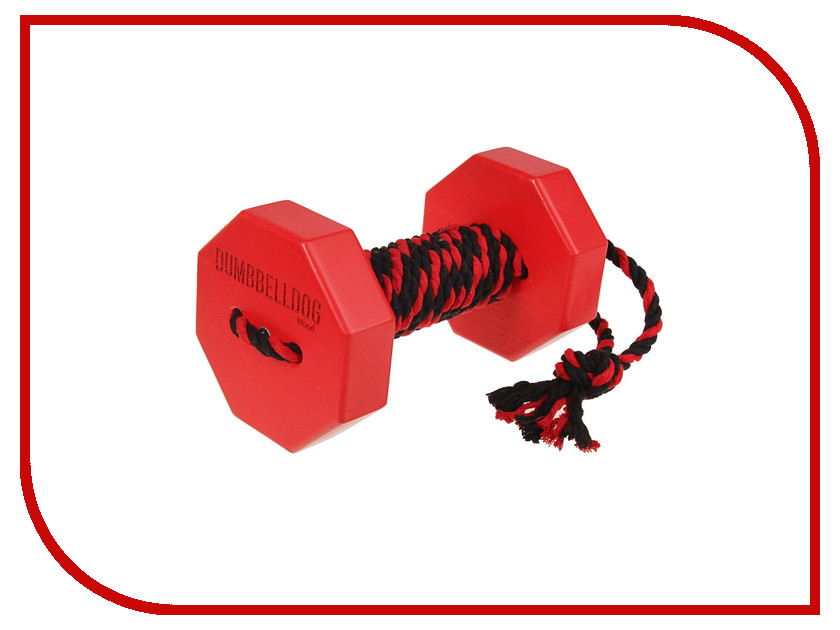 Снаряд для апортировки Doglike Dumbbelldog Wood средний с канатом Red