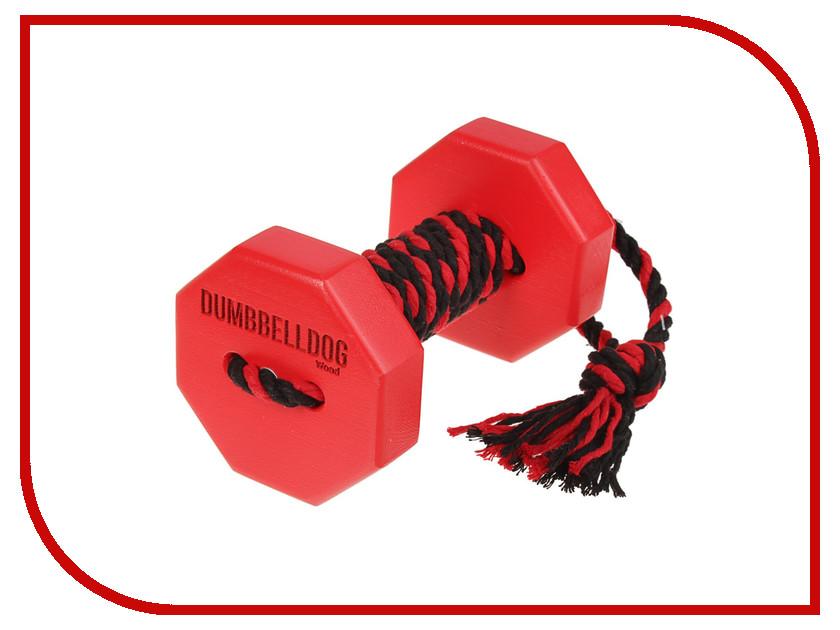 Снаряд для апортировки Doglike Dumbbelldog Wood малый с канатом Red