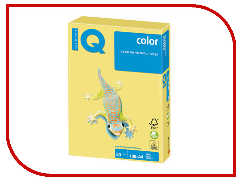Бумага IQ Color A4 80g/m2 100 листов Lemon Yellow ZG34 110845