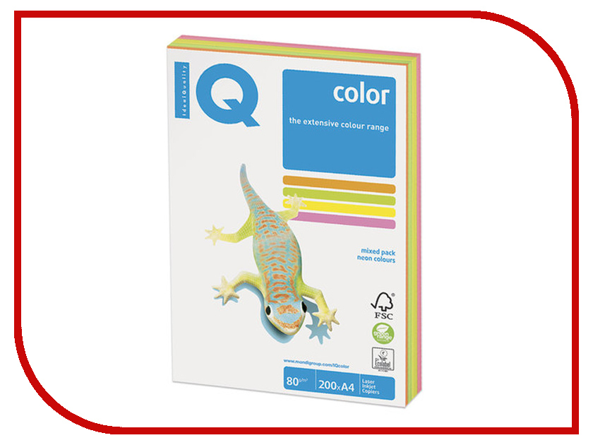 Бумага IQ Color A4 80g/m2 200 листов Neon Set RB04 110690
