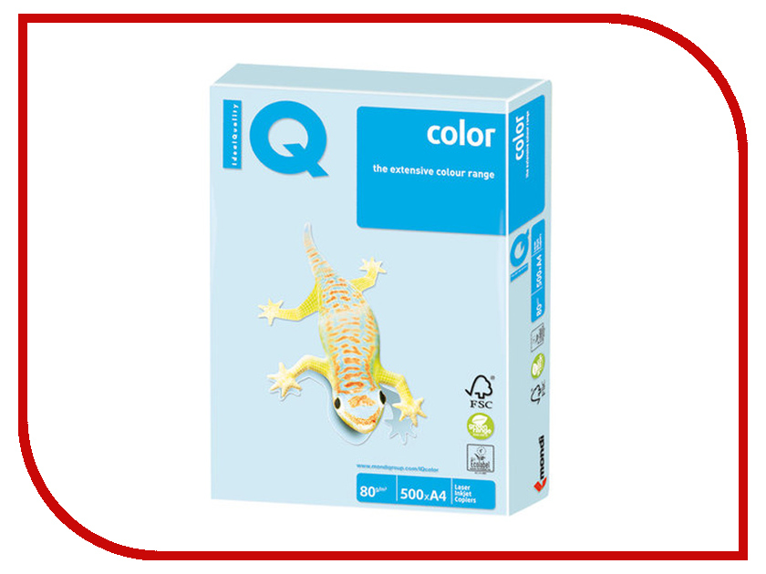 Бумага IQ Color A4 80g/m2 500 листов Pastel Light Blue BL29 110790