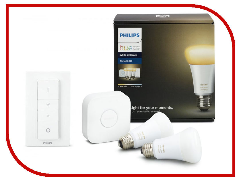 Лампочка Philips Hue White Ambiance E27 Smart Bulb Starter Kit с переключателем