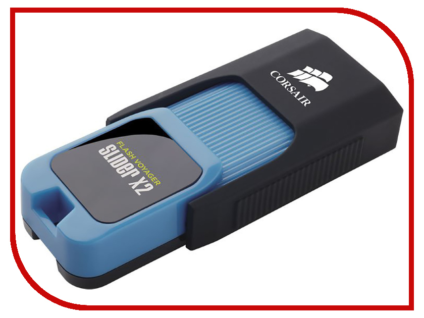 USB Flash Drive Corsair Flash Voyager Slider X2 64GB Black-Light Blue флешка usb 32gb corsair voyager slider x2 cmfsl3x2 32gb черно голубой