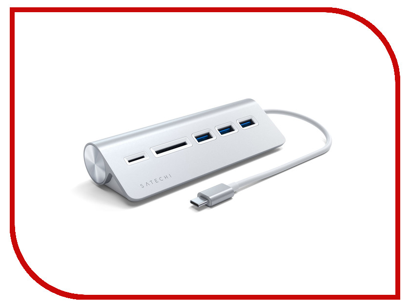 Хаб USB Satechi Aluminum Type-C - USB 3.0 Hub & Micro/SD Card Reader Silver ST-TCHCRS