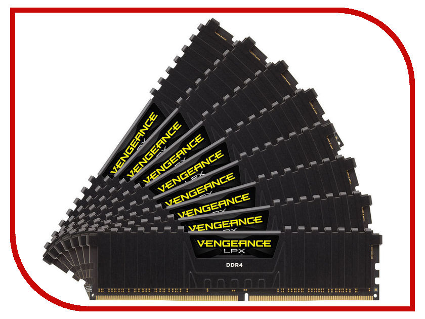 Модуль памяти Corsair Vengeance LPX DDR4 DIMM 2933MHz PC4-23400 CL16 - 64Gb KIT (8x8Gb) CMK64GX4M8Z2933C16 модуль памяти corsair vengeance lpx cmk32gx4m4b3733c17r ddr4 4x 8гб 3733 dimm ret