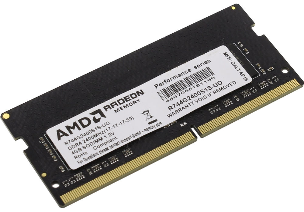 Модуль памяти AMD DDR4 SO-DIMM 2400MHz PC4-19200 - 4Gb R744G2400S1S-UO
