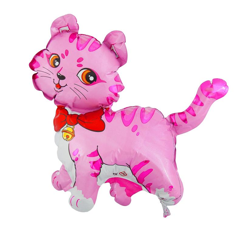 Шар фольгированный Flexmetal Кошечка с бантом 12-inch Pink 1230009