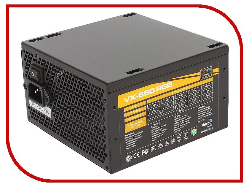 Блок питания AeroCool VX-650W RGB блок питания 650w aerocool vx 650