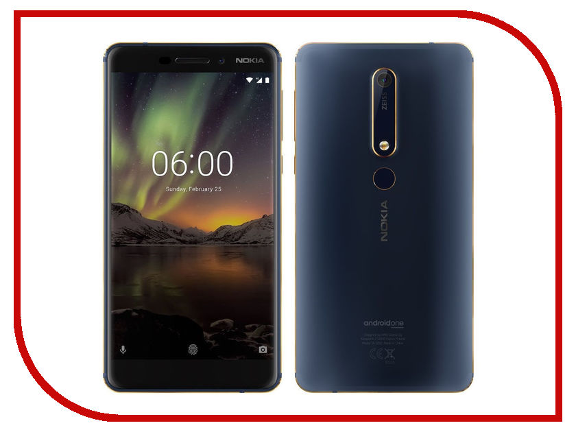 Сотовый телефон Nokia 6.1 Dual Sim 32Gb Blue сотовый телефон nokia 3310 dual dark blue