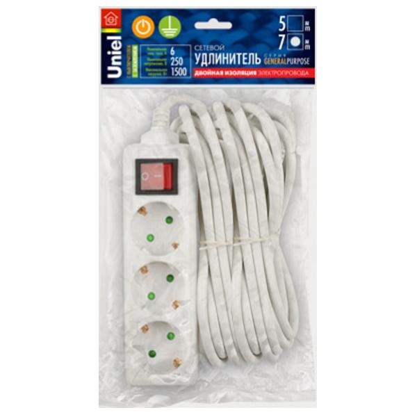 Удлинитель Uniel General 3 Sockets 7m White S-GCP3-7B удлинитель luazon 3 sockets 7m 2791291