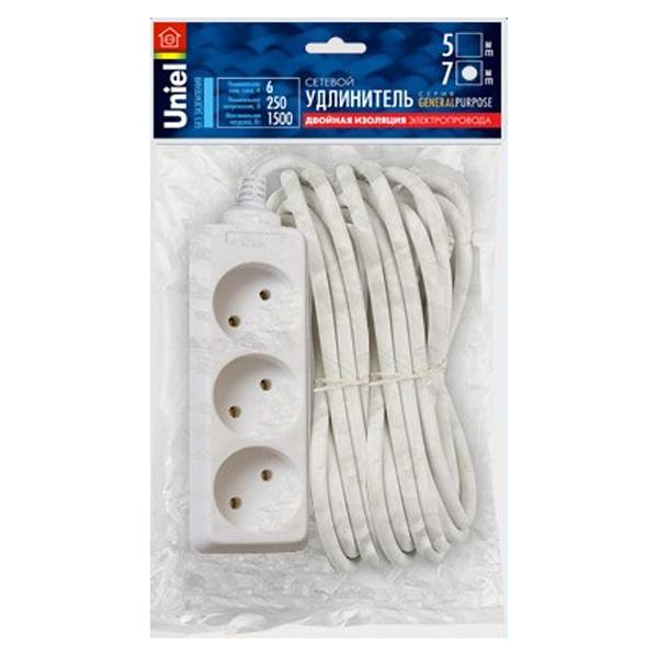 Удлинитель Uniel General 3 Sockets 7m White S-CP3-7