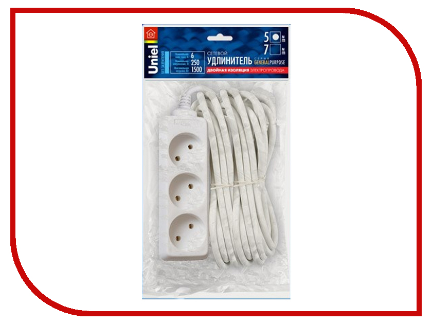Удлинитель Uniel General 3 Sockets 5m White S-CP3-5