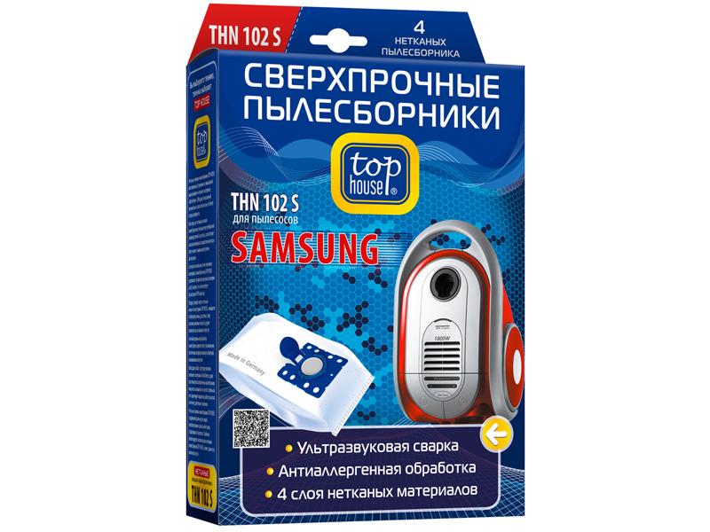 Сверхпрочные Мешки пылесборные Top House THN 102 S 4шт для пылесосов SAMSUNG VP-95B - VP-77 4660003392487