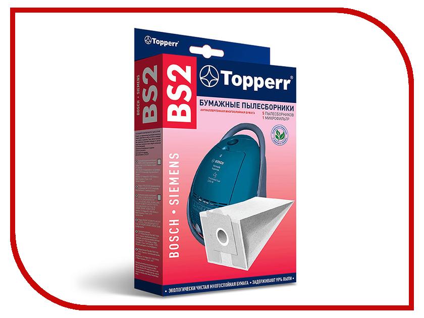 Пылесборники бумажные Topperr BS 2 5шт + 1 микрофильтр для Bosch / Siemens микрофильтр topperr fex 1